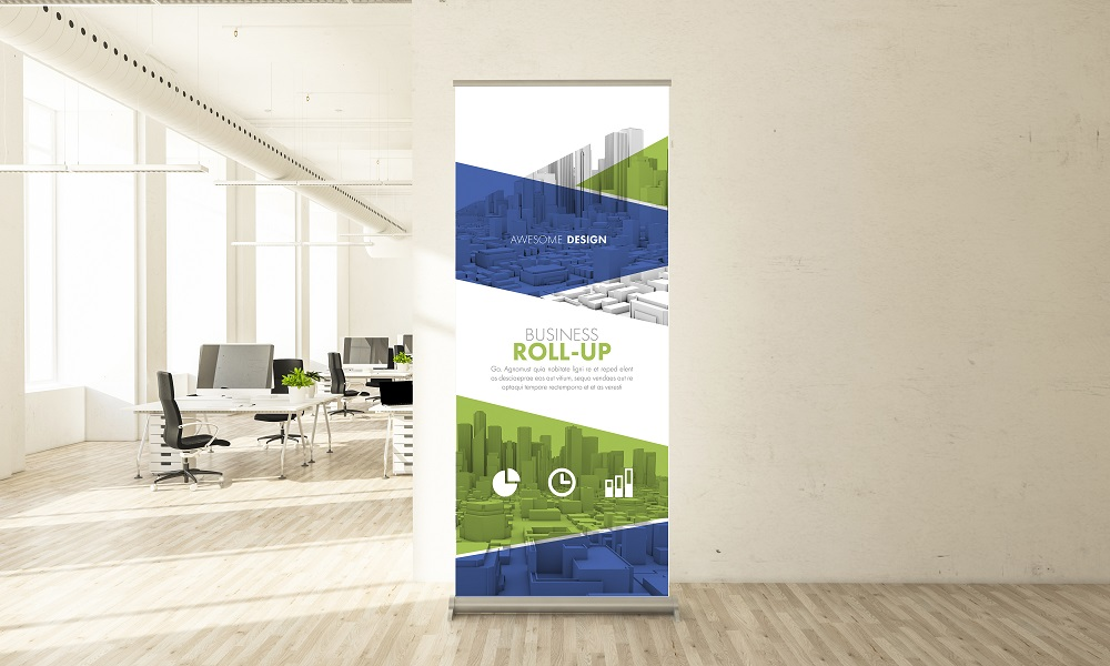 awesome design roll up banner in minimal office