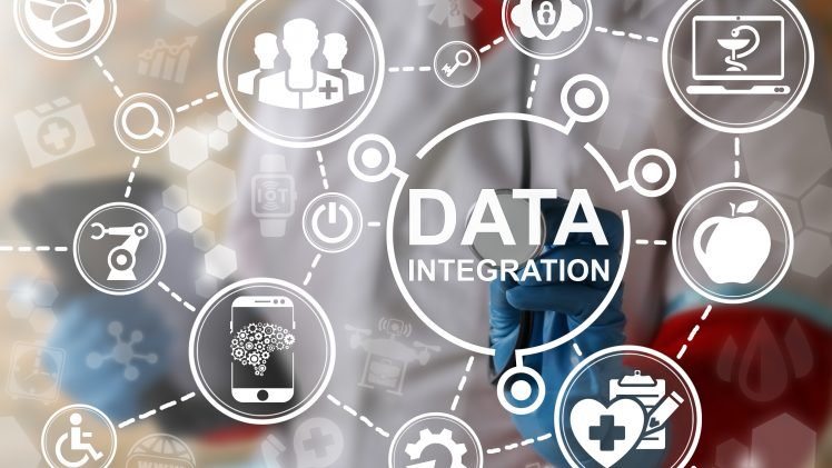 Big data integration medicine concept. Medical information database integrate. Health care server cloud integrated. IT, Smart, IoT, Computing, Robotic healthy web technology